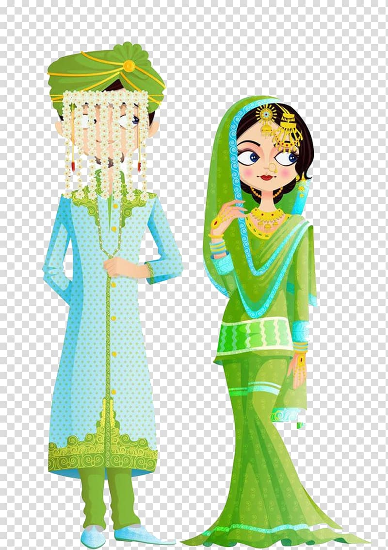 Wedded couple illustration islamic. Groom clipart traditional indian