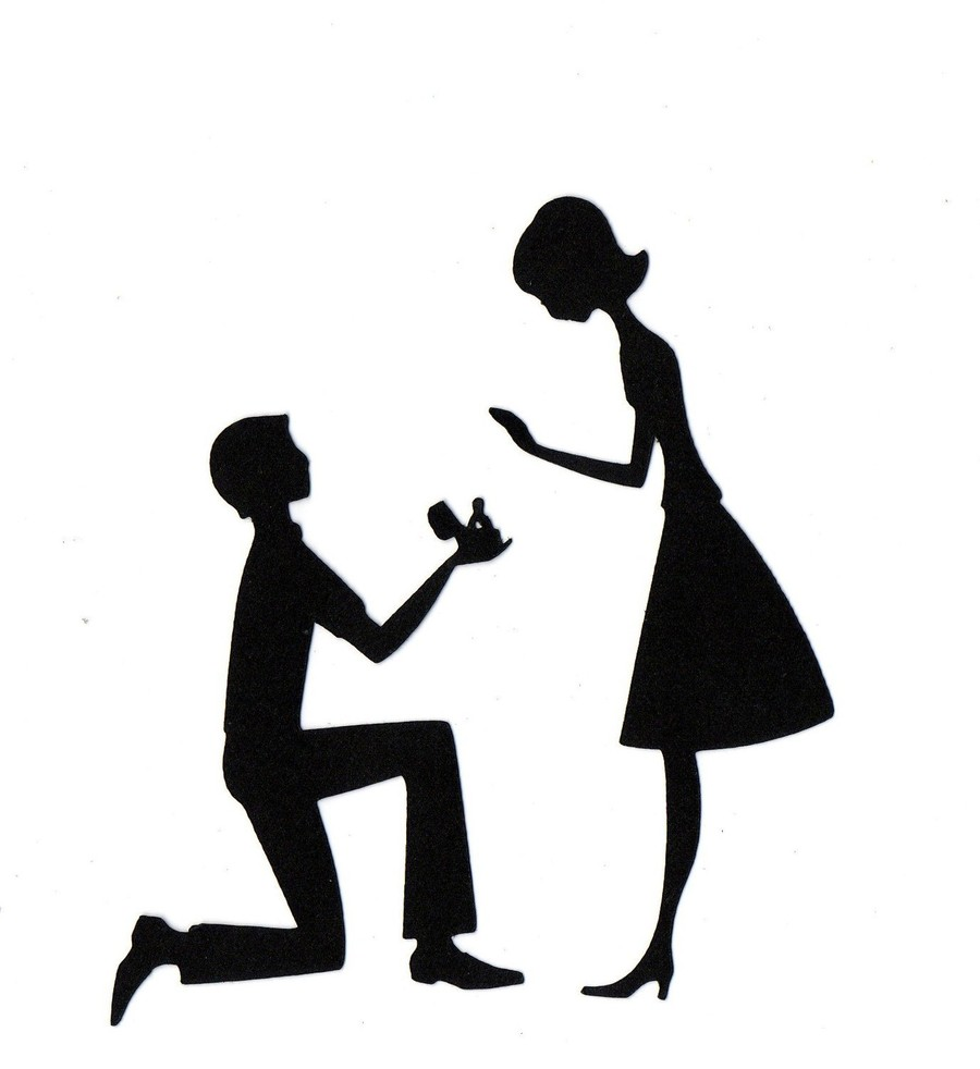 Download silhouette marry marriage. Engagement clipart proposal