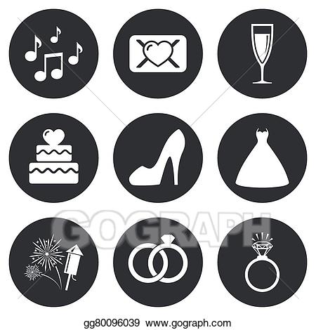 Vector stock wedding icons. Engagement clipart symbol