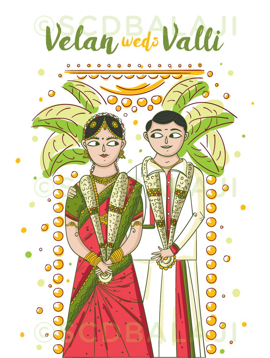 Engagement clipart tamil. South indian wedding invitation