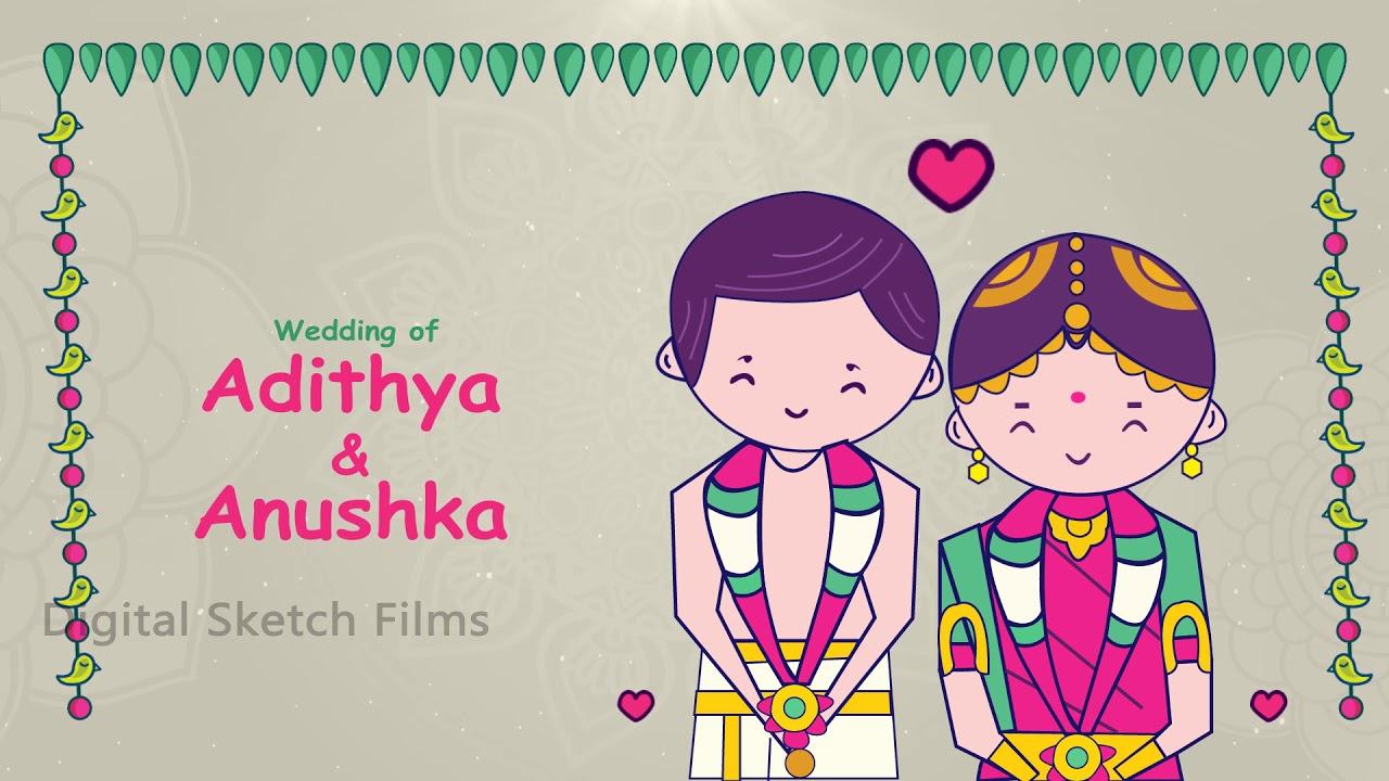 Brahmin wedding invitation video. Engagement clipart tamil