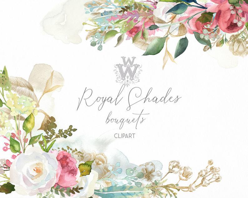 Engagement clipart wedding flower. Watercolor floral bouquet invitation