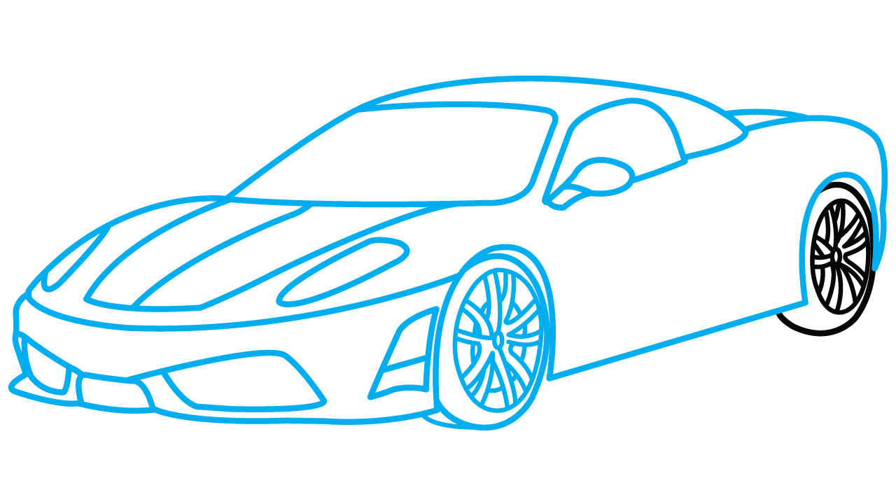 Engine clipart draw car. Sports drawing step by