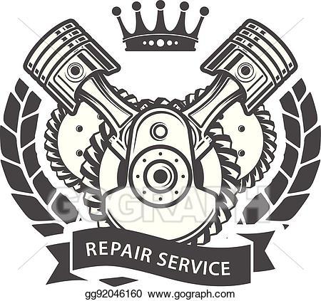Vector illustration auto service. Engine clipart engine repair