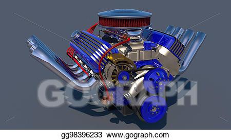 Stock illustration d render. Engine clipart hot rod engine