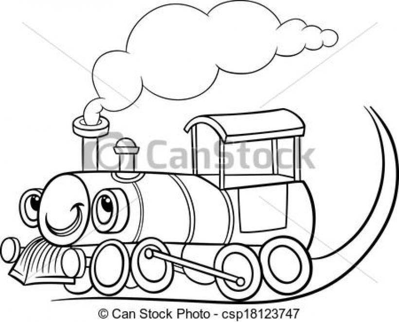 Engine clipart line art. Locomotive black and white