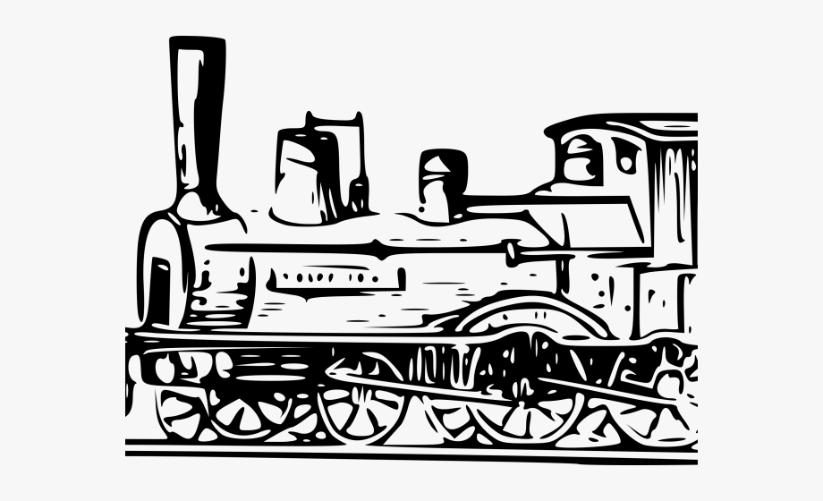 Locomotive steam train . Engine clipart line art