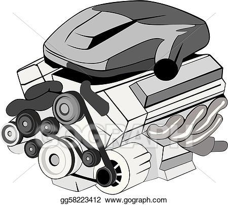 Vector art eps gg. Engine clipart motor part