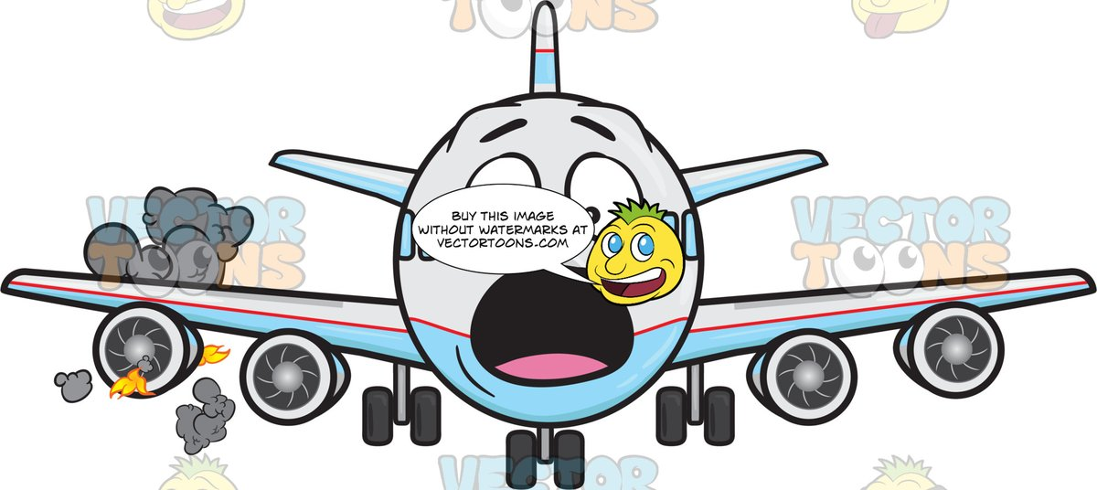 Startled jumbo jet panicking. Engine clipart plane engine