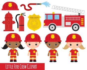 Fire crew engine x. Fireman clipart cute