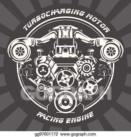 Vector art turbocharging power. Engine clipart racing engine