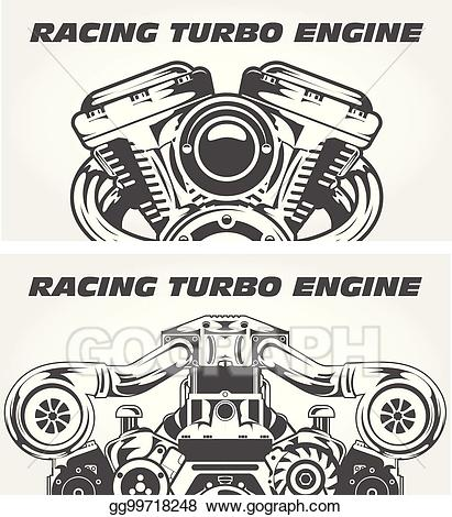 Engine clipart racing engine. Eps illustration turbocharging and