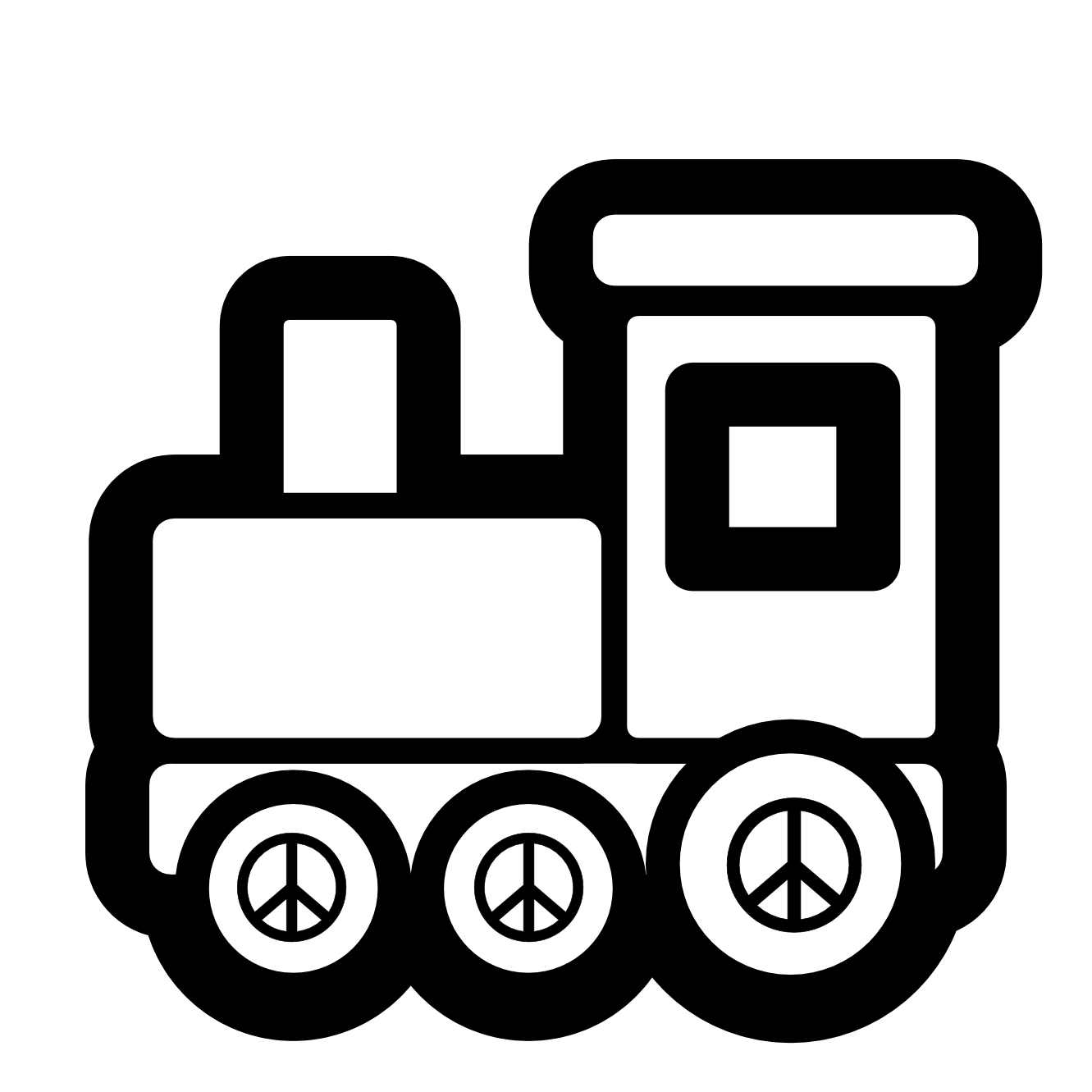 Black and white panda. Engine clipart red train