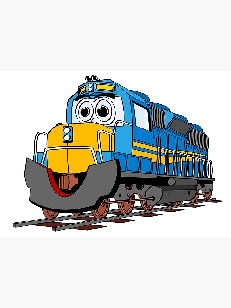 Engine clipart short train. Blue cartoon poster