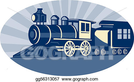 Engine clipart side view. Stock illustration steam train