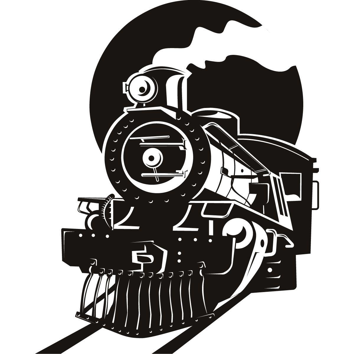 Engine clipart silhouette. Steam locomotive