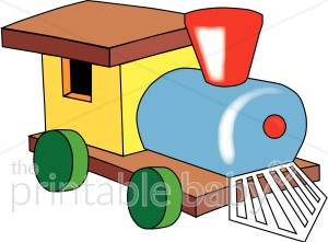 Toy steam baby vehicle. Engine clipart template