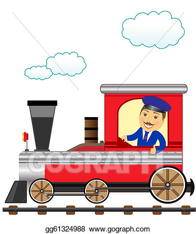 Stock illustration with smile. Engine clipart train conductor