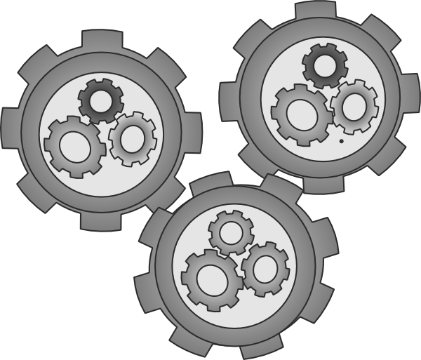 Engine clipart vector. Cogs meshed simple clip