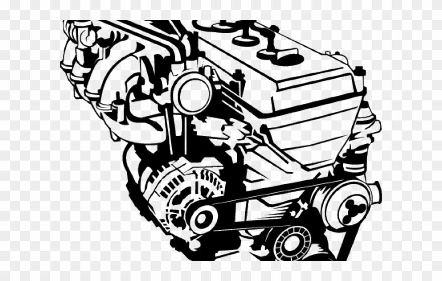 Auto motor de silueta. Engine clipart vehicle engine