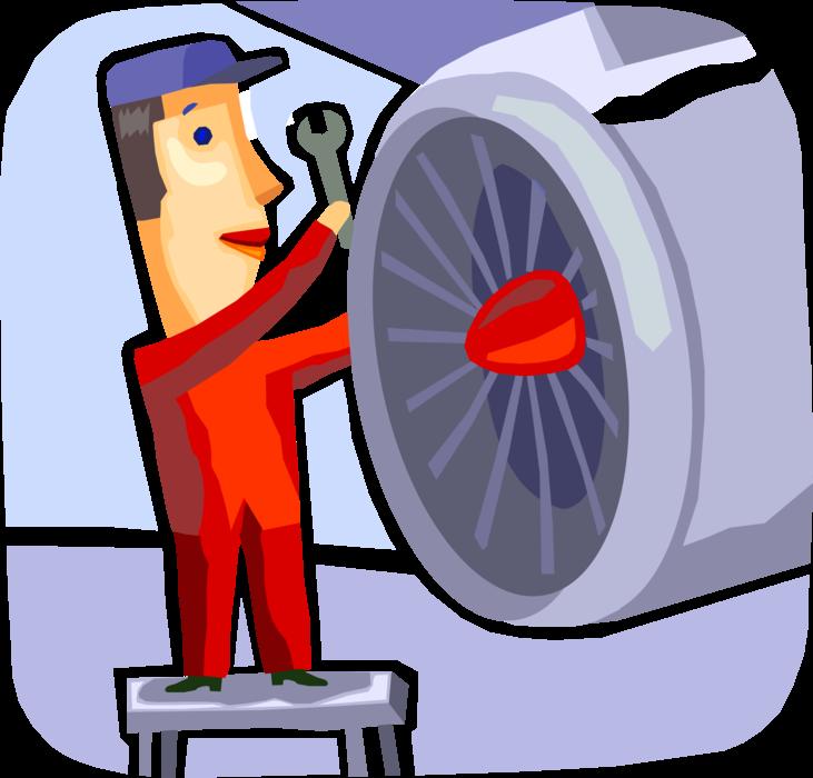 Aircraft maintenance technician with. Mechanic clipart airplane