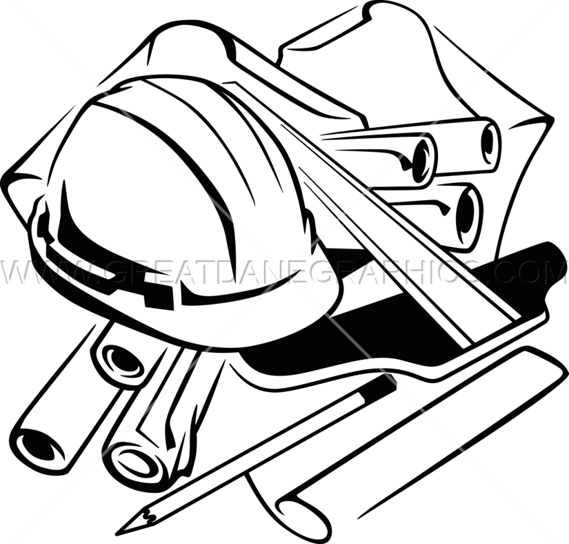 Engineer clipart black and white. Engineering table production ready