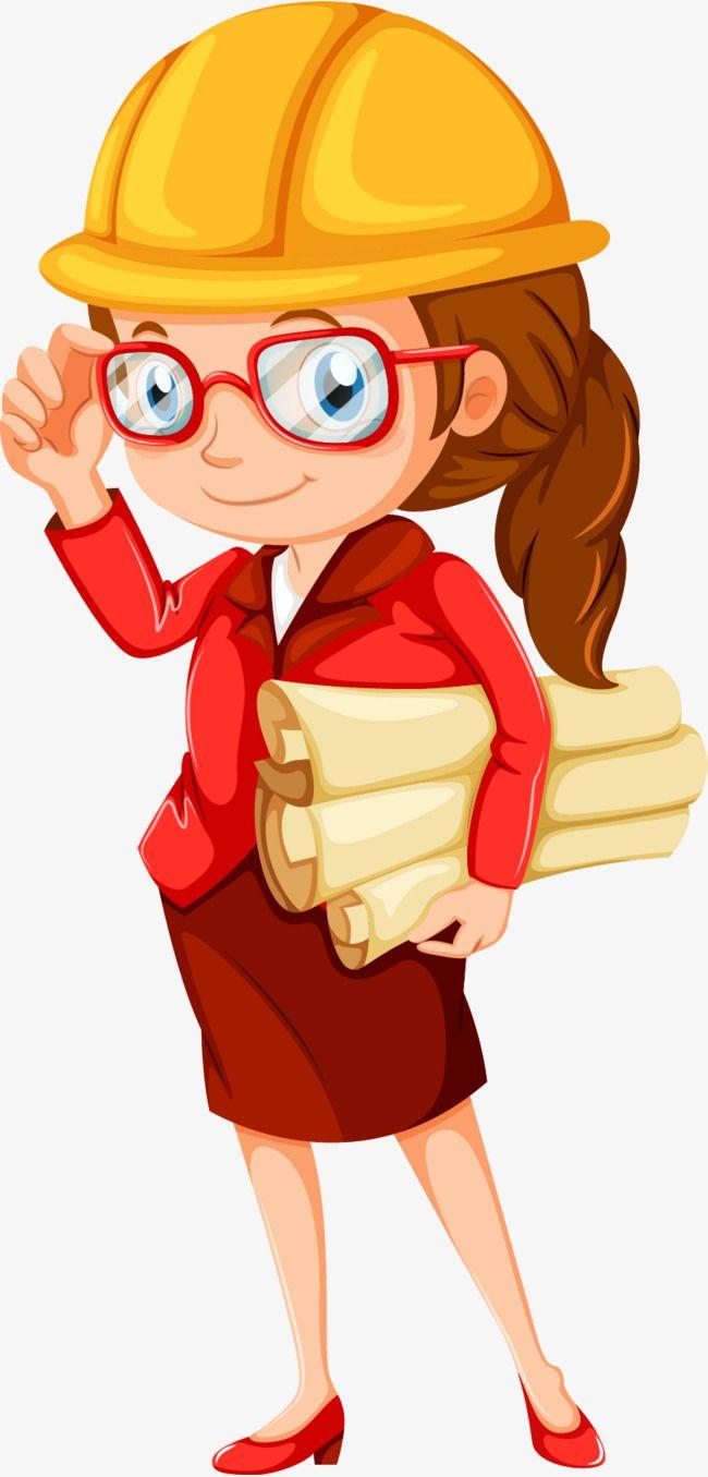 Engineering designer cartoon characters. Lady clipart engineer