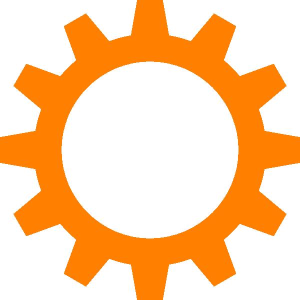 Wheel clipart engineer. Orange cog clip art