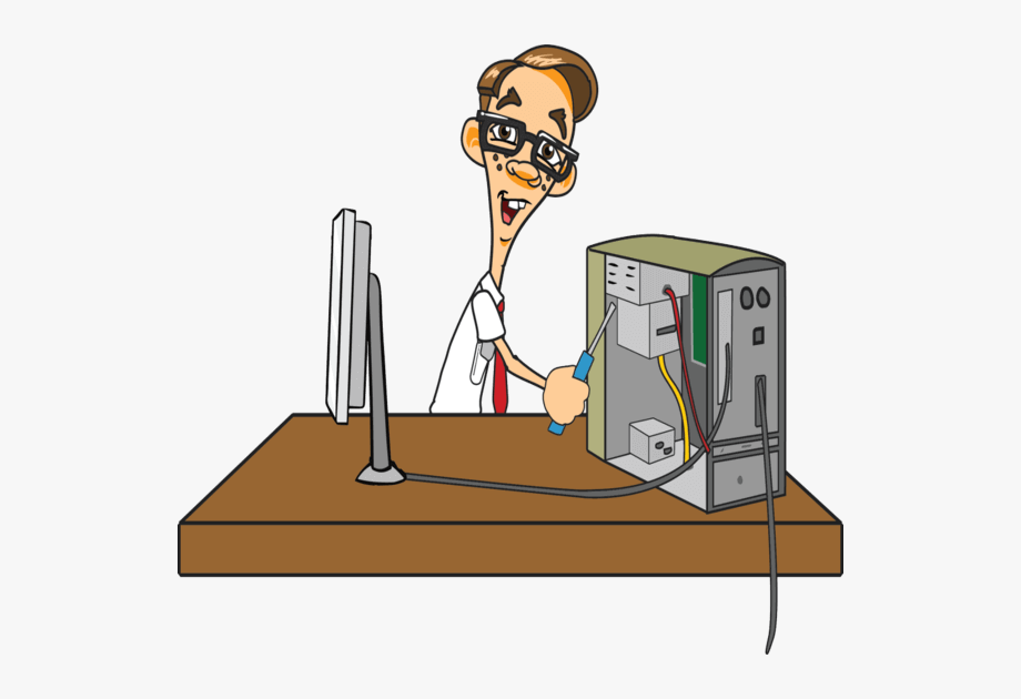Somebody fixing a . Engineer clipart computer repair