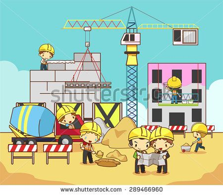 Engineer clipart constructing a building. Cartoon children civil technician