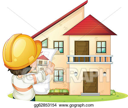 Eps illustration and vector. Engineer clipart constructing a building