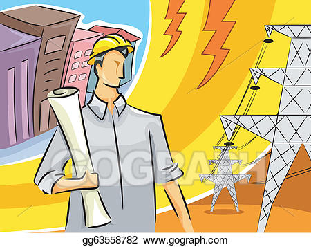 Vector stock guy illustration. Engineer clipart electrical engineer