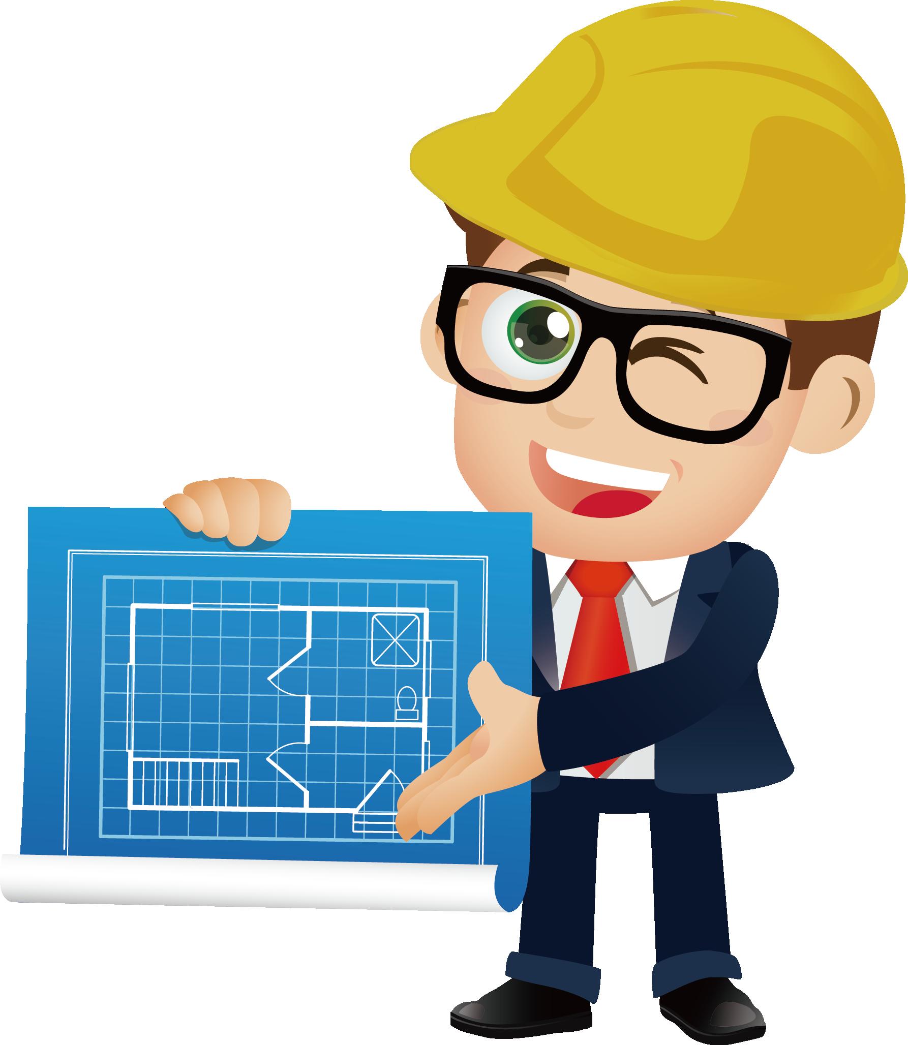 Architectural engineering cartoon transprent. Engineer clipart engineer job