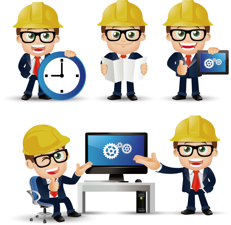 Civil construction cartoons transprent. Engineering clipart professional engineer