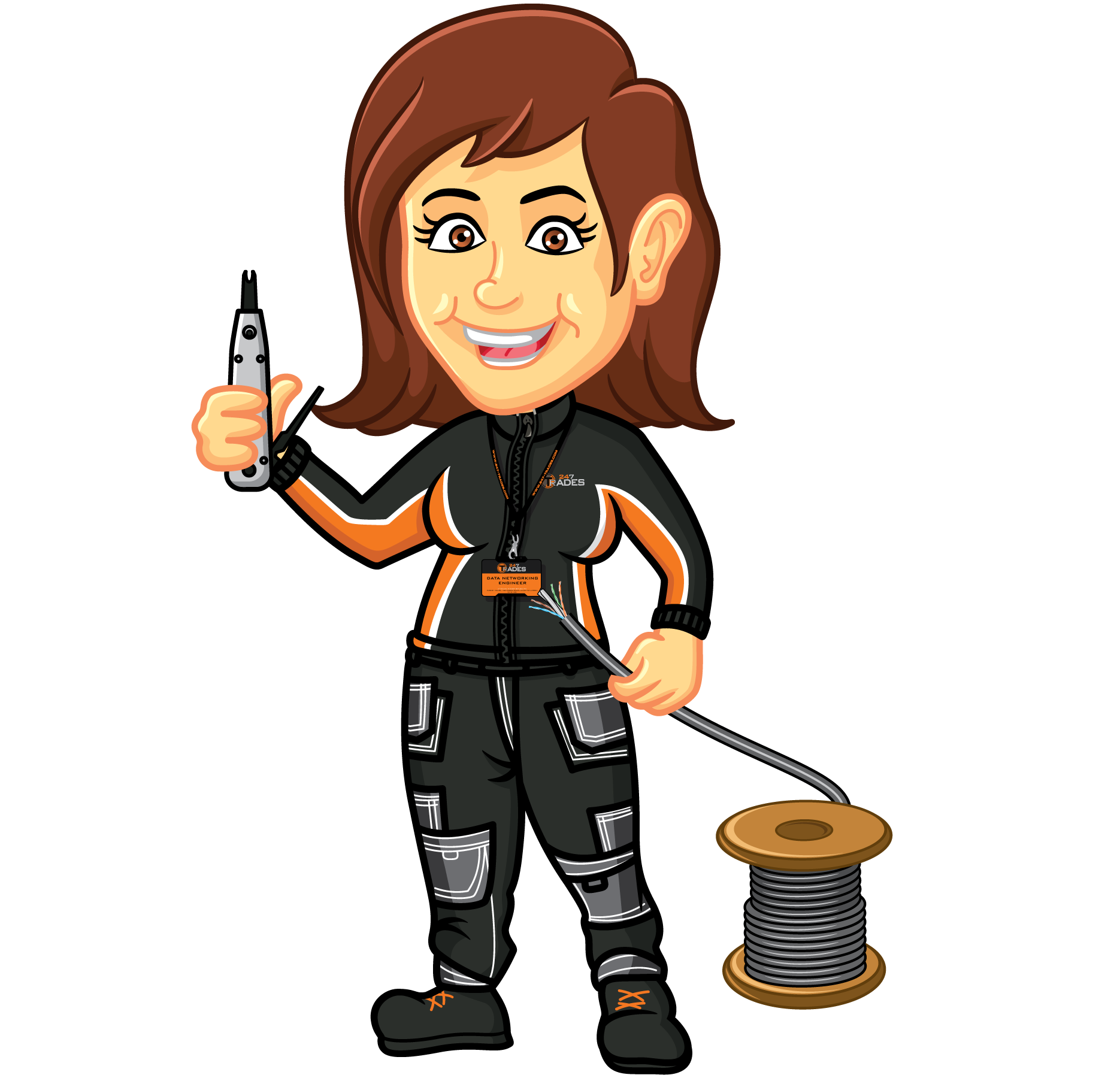 Data cabling and it. Engineer clipart female engineer