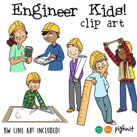 Engineer clipart kid. Kids classroom printable digital