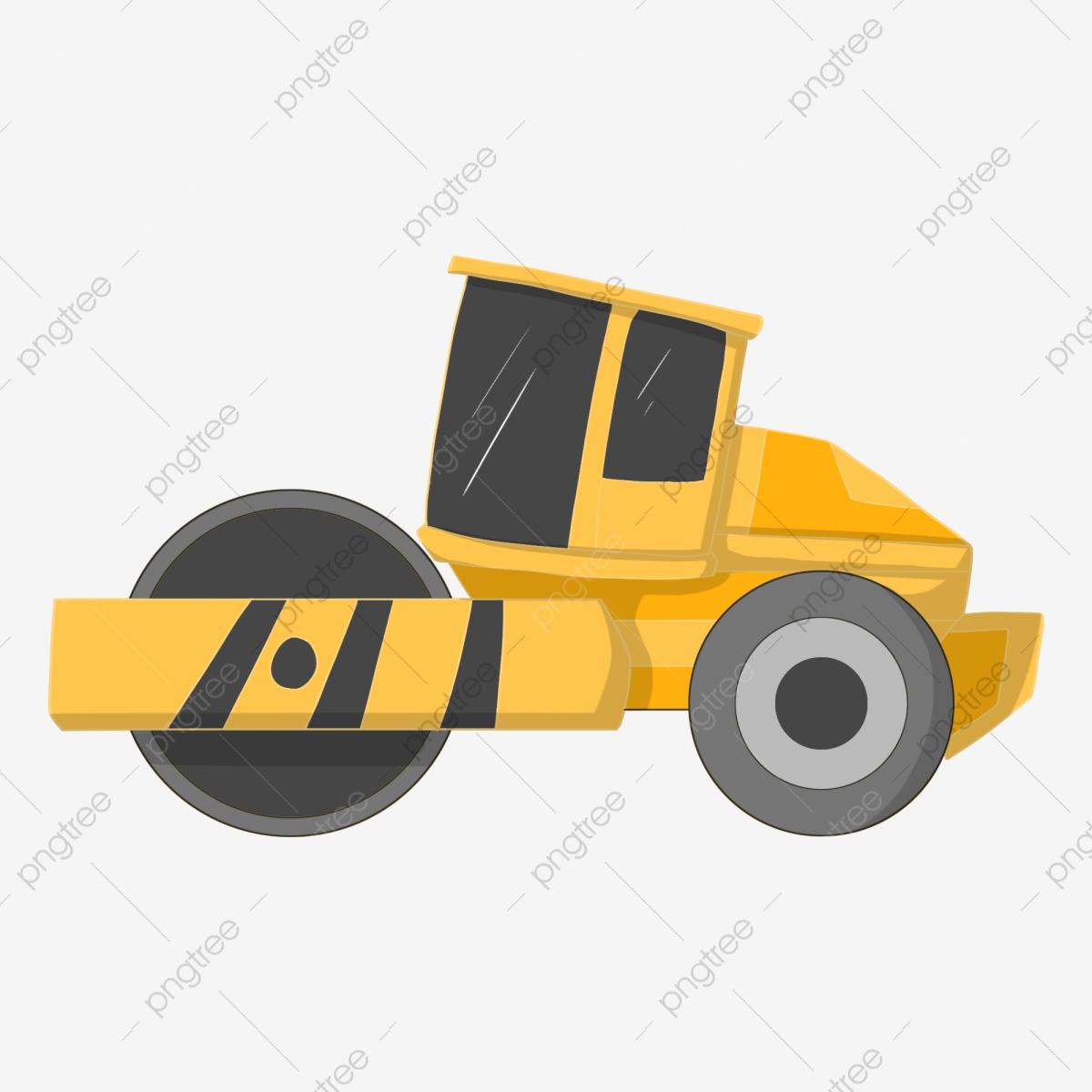 Engineer clipart municipal engineer. Yellow roller engineering machinery