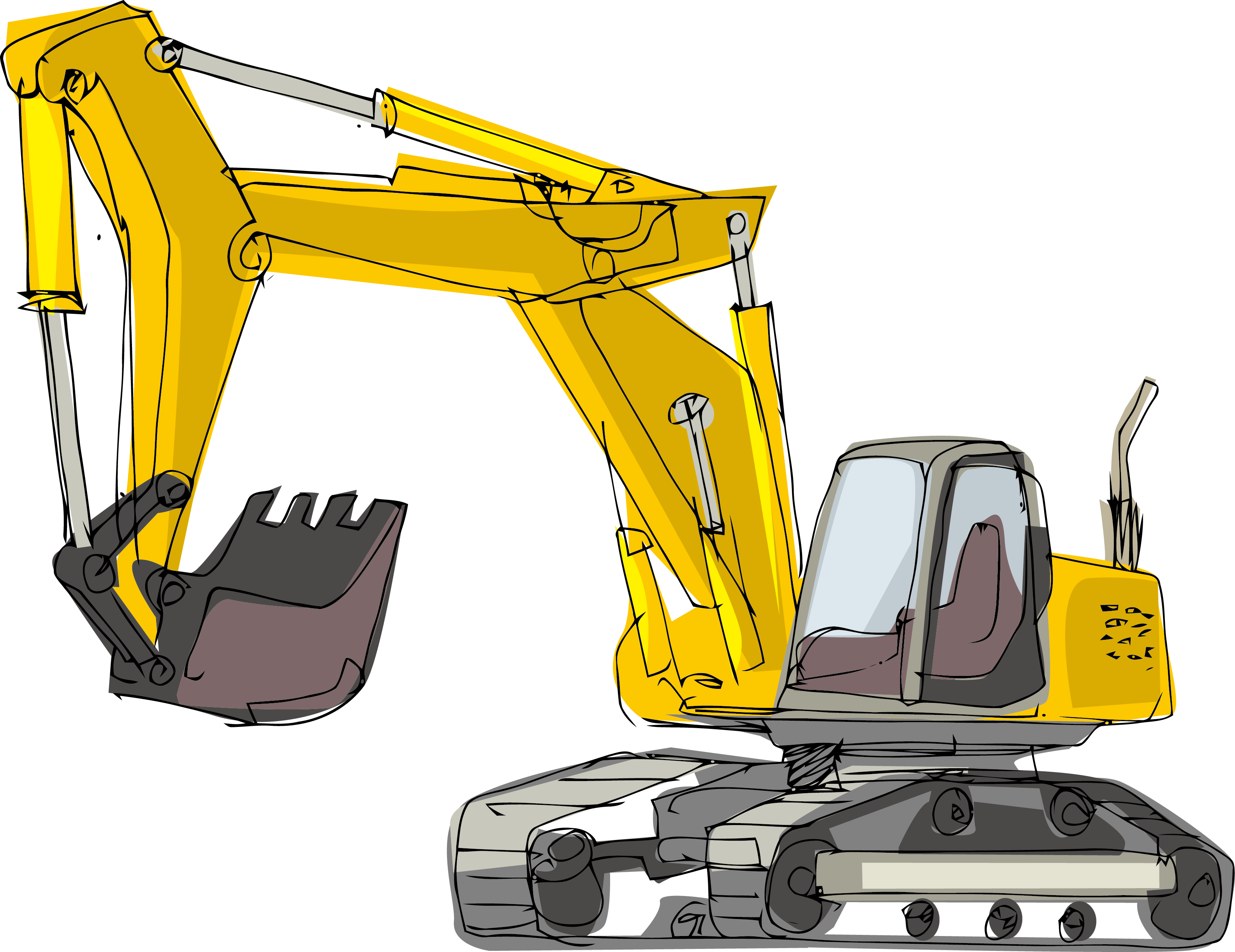 Excavator clipart mechanical. Cartoon architectural engineering hand