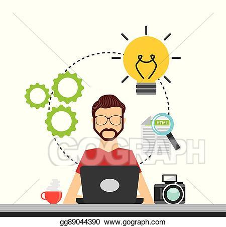 Vector stock developer and. Engineer clipart software programmer