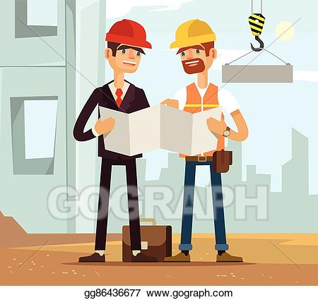 Engineering clipart builder. Eps illustration two builders