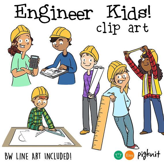 Engineering clipart. Engineer kids classroom printable