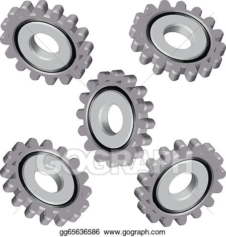 Eps vector gears parts. Engineering clipart machine part