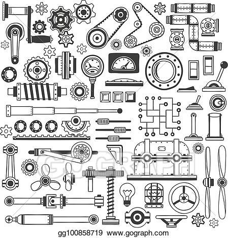 Engineering clipart machine part. Eps vector doodle parts