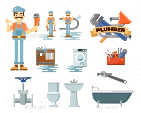 Professional plumbing repair service. Engineering clipart plumber tool