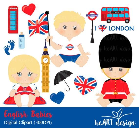 Babies digital clip art. English clipart cute