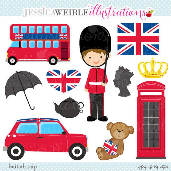 British trip digital commercial. English clipart cute