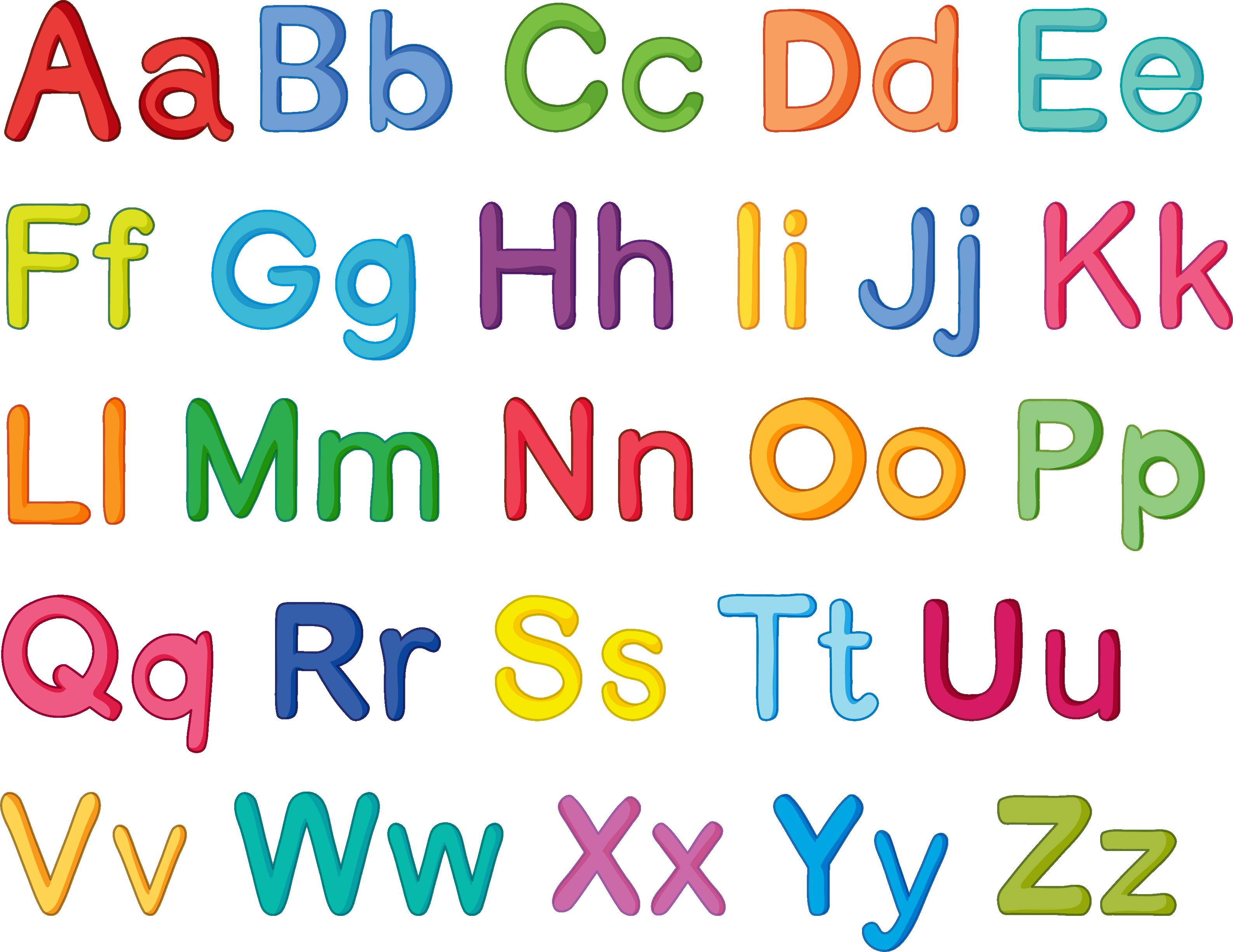 Letter color cartoon transprent. English clipart english alphabet