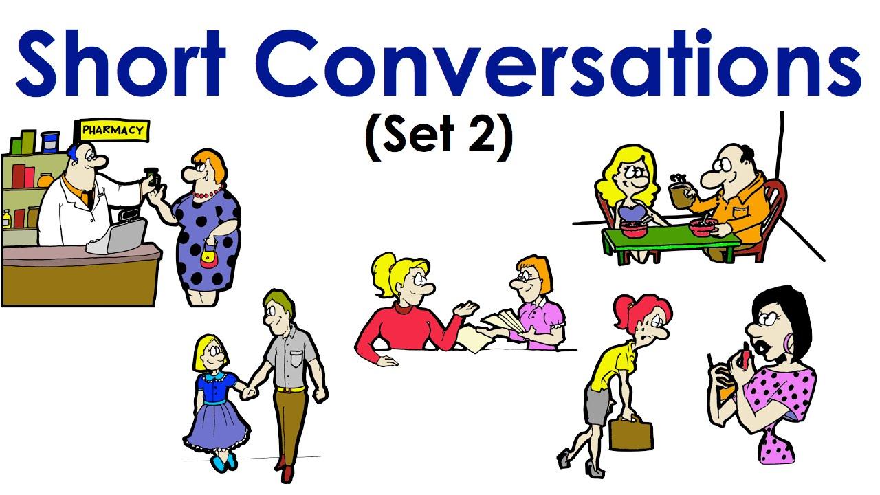Short conversations set easy. English clipart english conversation
