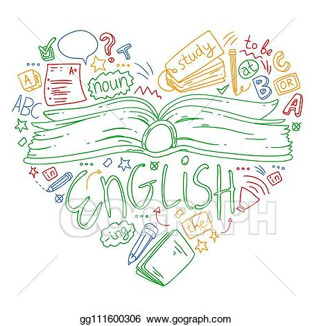 Learning clipart language literature. Vector art school for