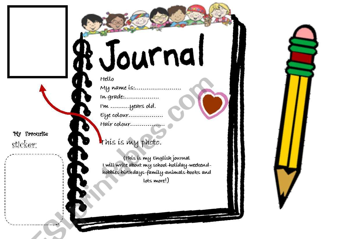 Journal clipart english journal. Cover esl worksheet by